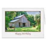 Cumpleaños, granero viejo de la granja felicitación