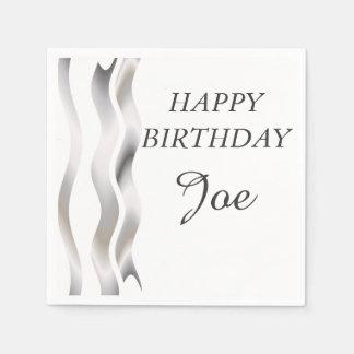 Cumpleaños gris y blanco de las cintas de satén servilleta desechable