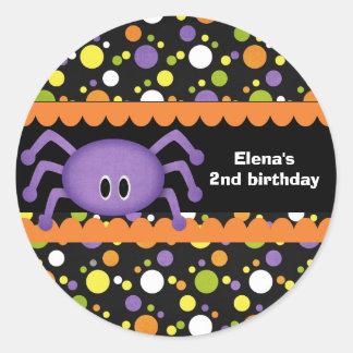 Cumpleaños Halloween de la araña Pegatina Redonda
