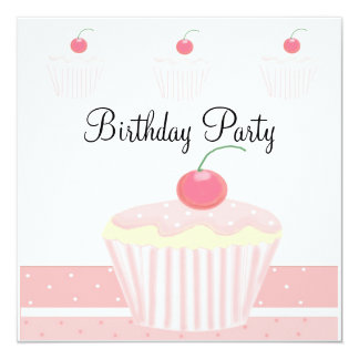 """Cumpleaños helado rosa de la magdalena invitación 5.25"""" x 5.25"""""""