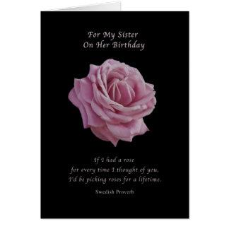 Cumpleaños, hermana, color de rosa rosado en negro tarjeta de felicitación