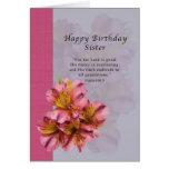 Cumpleaños, hermana, religiosa, flores del Alstroe Tarjetón