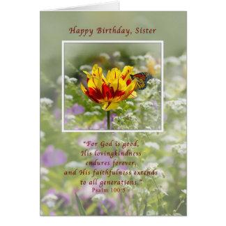 Cumpleaños, hermana, tulipán y mariposa, tarjeta de felicitación
