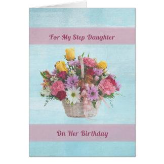 Cumpleaños, hija del paso, flores coloridas en un tarjeta de felicitación