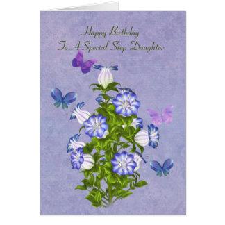 Cumpleaños, hija del paso, mariposas y flores tarjeta de felicitación