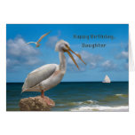 Cumpleaños, hija, pelícano blanco en una roca felicitacion