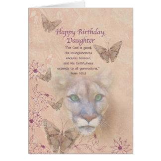 Cumpleaños, hija, puma y mariposas tarjeta de felicitación