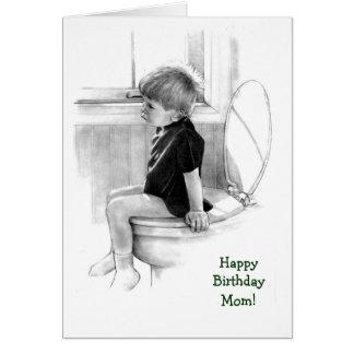 Cumpleaños: Hijo a la mamá: Muchacho en el Potty, Tarjeta De Felicitación