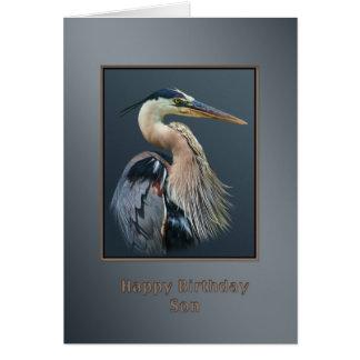Cumpleaños, hijo, pájaro de la garza de gran azul, tarjeta de felicitación