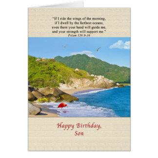Cumpleaños, hijo, playa, colinas, pájaros, océano tarjeta de felicitación
