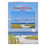 Cumpleaños, hijo, playa y tarjeta de la vista al m
