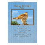 Cumpleaños, hijo, tarjeta Áspero-legged del halcón