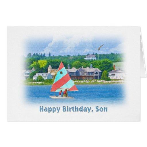 Cumpleaños, hijo, velero en un lago, náutico tarjeta de felicitación
