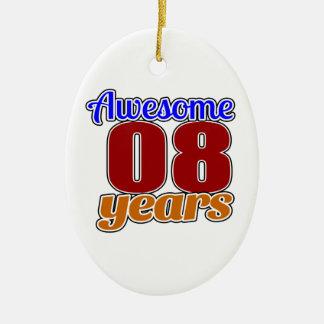 Cumpleaños impresionante 08 adorno ovalado de cerámica
