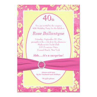 Cumpleaños IMPRESO del amarillo del rosa de la Invitaciones Personalizada
