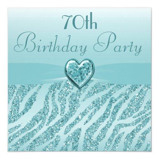 Cumpleaños impreso trullo del brillo del corazón y invitación personalizada