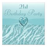 Cumpleaños impreso trullo del brillo del corazón y invitacion personal