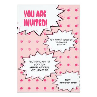 """Cumpleaños inspirado cómico de semitono rosado del invitación 5"""" x 7"""""""