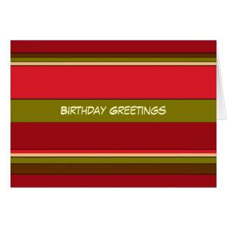 Cumpleaños intrépido de las rayas tarjeta de felicitación