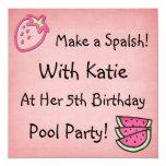 Cumpleaños Invitaiton de la fiesta en la piscina Invitación 13,3 Cm X 13,3cm