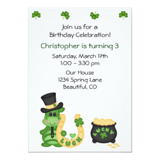 """Cumpleaños irlandés afortunado lindo de los invitación 5"""" x 7"""""""