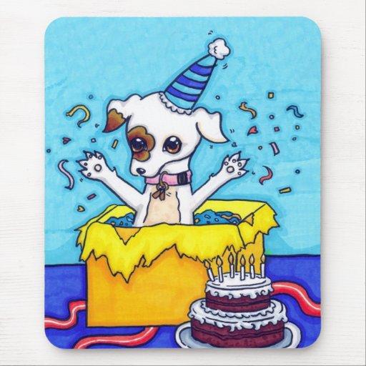 Cumpleaños Jack Russell en una actual caja Tapetes De Raton