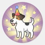 Cumpleaños Jack Russell Terrier Pegatinas Redondas