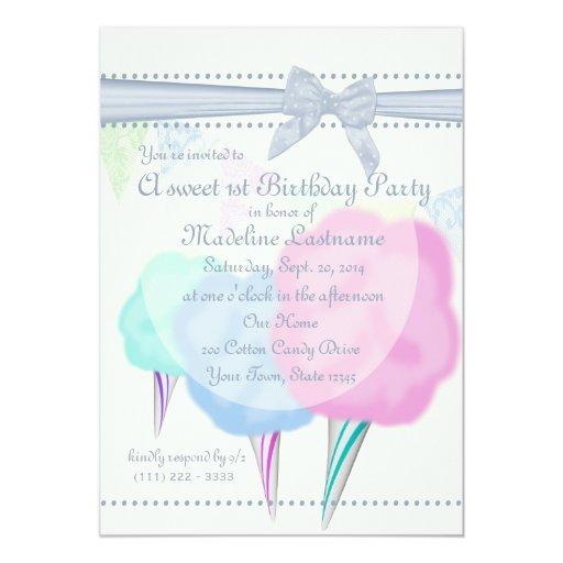 """Cumpleaños justo del caramelo de algodón invitación 5"""" x 7"""""""