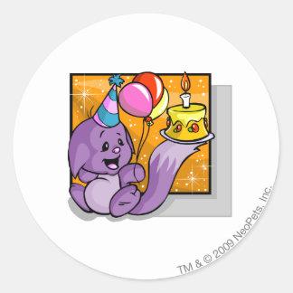 Cumpleaños Kacheek Etiquetas Redondas