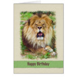 Cumpleaños, león de mentira tarjeta de felicitación