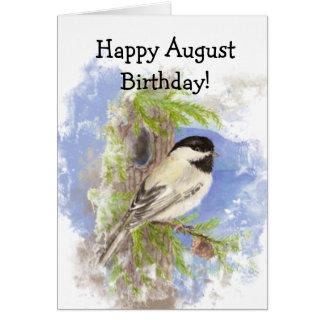 Cumpleaños lindo de agosto del pájaro del tarjeta de felicitación