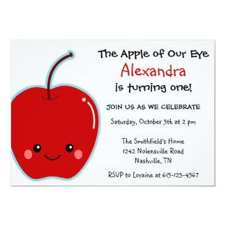 """Cumpleaños lindo de Apple Invitación 5"""" X 7"""""""