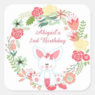 Cumpleaños lindo de la guirnalda de la flor del pegatina cuadrada