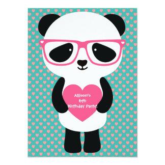 """Cumpleaños lindo de la panda invitación 5.5"""" x 7.5"""""""