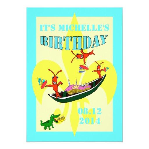 Cumpleaños lindo de la piragua del cocodrilo de invitaciones personales