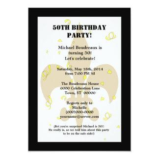 Cumpleaños lindo de la sorpresa del oro del negro invitación 12,7 x 17,8 cm