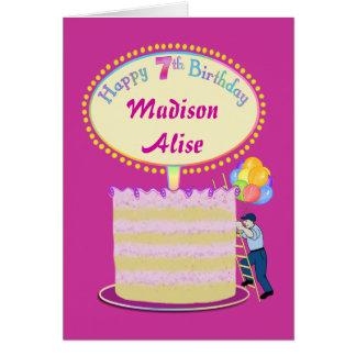 Cumpleaños lindo de los chicas 7mo - personalícelo tarjeta de felicitación