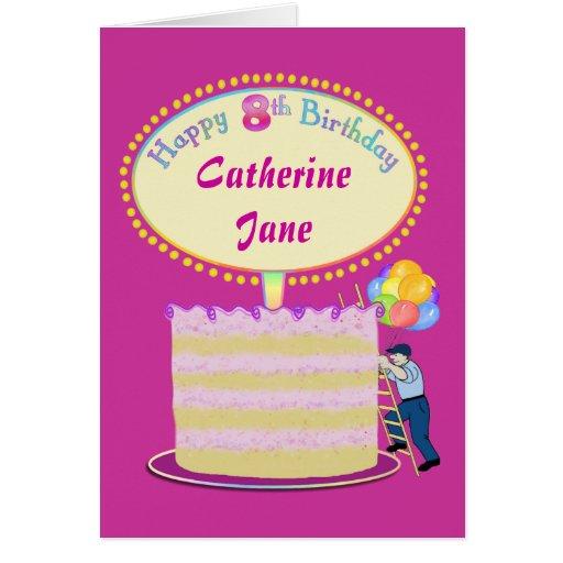 Cumpleaños lindo de los chicas el 8vo lo personali tarjeta de felicitación