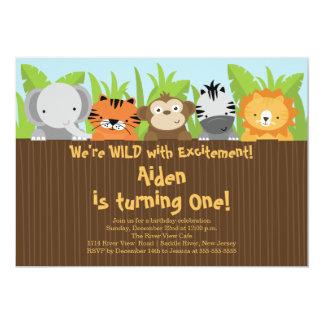 Cumpleaños lindo de los niños de los animales del invitación 12,7 x 17,8 cm