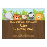 Cumpleaños lindo de los niños de los animales del  invitaciones personales