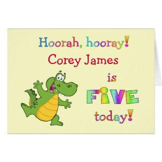 Cumpleaños lindo de los niños el 5to personaliza p tarjeta de felicitación