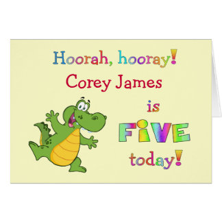 Cumpleaños lindo de los niños el 5to personaliza tarjeta de felicitación