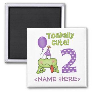 Cumpleaños lindo de Toadally 2do Iman Para Frigorífico