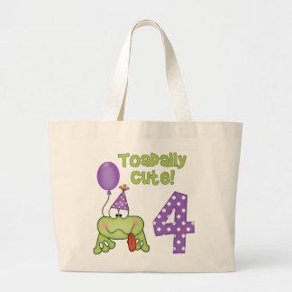 Cumpleaños lindo de Toadally 4to Bolsa Tela Grande