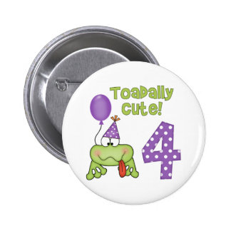 Cumpleaños lindo de Toadally 4to Pin Redondo De 2 Pulgadas