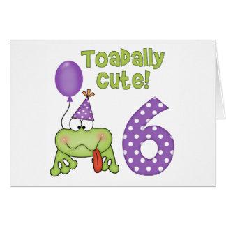 Cumpleaños lindo de Toadally 6to Tarjeta Pequeña
