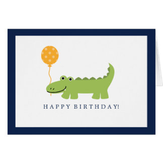 Cumpleaños lindo del cocodrilo tarjeta pequeña
