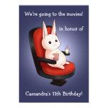 cumpleaños lindo del conejito en el cine invitacion personalizada