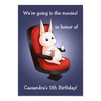 """cumpleaños lindo del conejito en el cine invitación 5"""" x 7"""""""