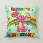 Cumpleaños lindo del dinosaurio de los niños almohada